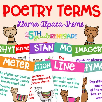 Poetry Terms Posters with a Llama Alpaca Theme Anchor Charts