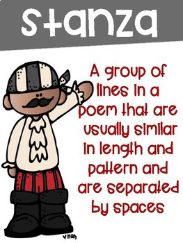 Poetry Terms Posters with a Pirate Theme- 9 Posters