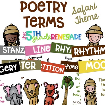 Poetry Terms Posters with a Safari Theme
