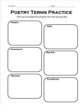 Poetry Terms Practice