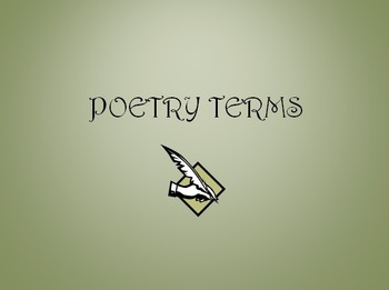 Poetry Terms Practice and Tests