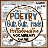 Poetry Terms & Literary Devices Editable Game Quiz-Quiz-Trade