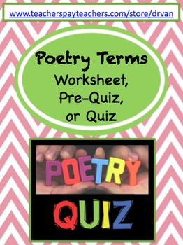 Poetry Terms Quiz / Test / Worksheet