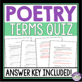 POETRY TERMS QUIZ - METAPHOR, SIMILE, HYPERBOLE, PERSONIFICATION, & MORE!