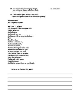 Figurative Language and Poetry Quiz