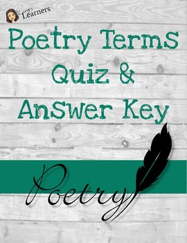 Poetry Terms Quizzes & Answer Keys
