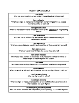 Poetry Terms Review Game: ZIP AROUND!