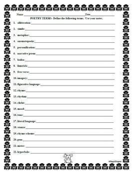 poetry terms study guide with quick assessment by happyedugator. Black Bedroom Furniture Sets. Home Design Ideas