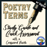 Poetry Terms - Study Guide with Quick Assessment