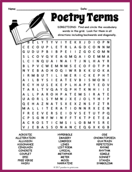 Poetry Terms Word Search Puzzle