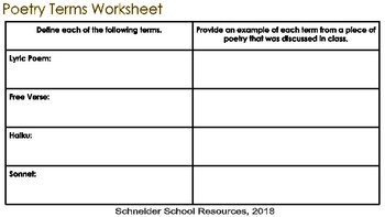 Poetry Terms Worksheet and Quiz
