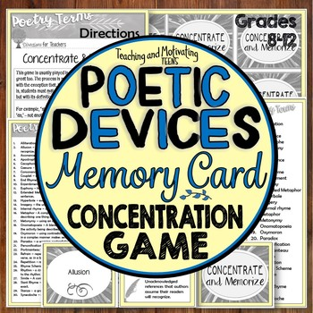 Literary Devices / Figurative Language Concentration Memory Card Game - Editable