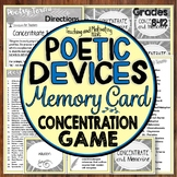 Literary Devices / Poetry Concentration Memory Card Game