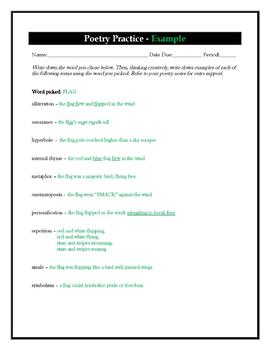 Poetry Terms and Practice