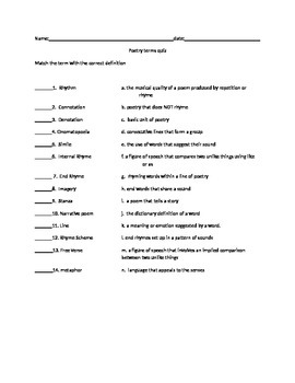 Poetry Terms quiz - matching