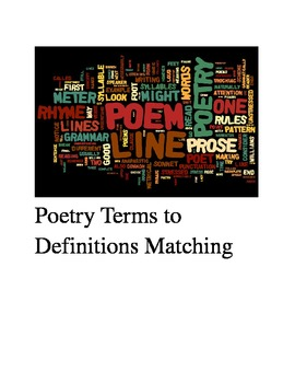 Poetry Terms to Definitions Matching