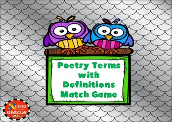 Poetry Terms with Definitions Boom Cards