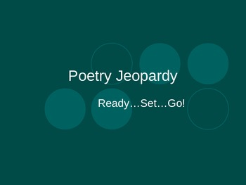 Poetry Terms/Poetic Devices Jeopardy PowerPoint
