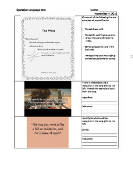 Poetry Test 5th Grade (Figurative Language and Sound Devices)