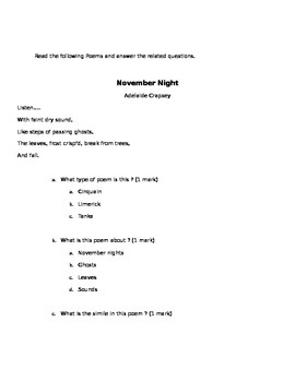 Poetry Test - Difficult