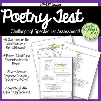 Poetry Test-Identification, Application & Written Response