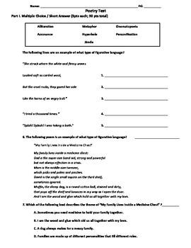 Poetry Test: Skills Based