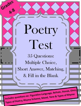 Poetry Test: Summative Assessment for Poetry and Figurative Language