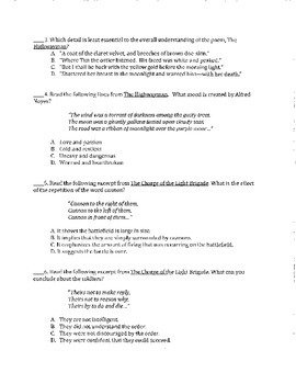 Poetry Test - aligned to Common Core