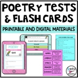 Poetry Tests  (2 Study guides, flash cards, and tests)