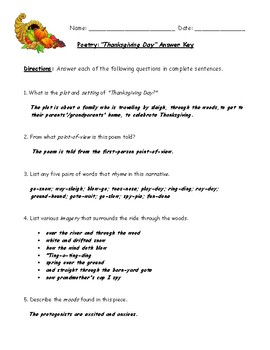 """""""Thanksgiving Day"""" Poem Worksheet with Detailed Answer Key"""
