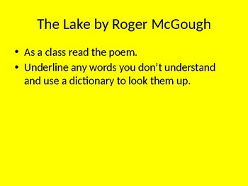Poetry - The Lake by Roger McGough