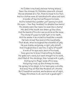 """The Night Before Christmas"" Worksheet with Detailed Answer Key"