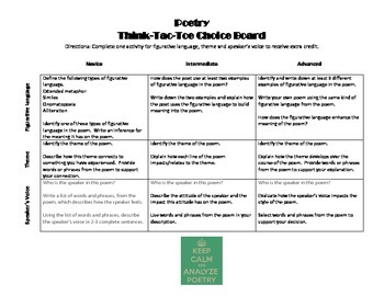 Poetry Think-Tac-Toe