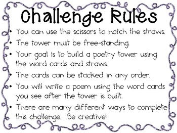 Poetry Tower: Engineering Challenge Project ~ Great STEM Activity!
