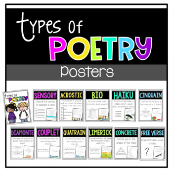 Poetry Types Posters with examples