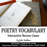 Poetry Vocabulary Terms Cards Definitions & Examples Game, Fun for Review
