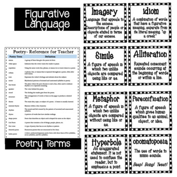 Poetry Vocabulary/Terms (Black and White)