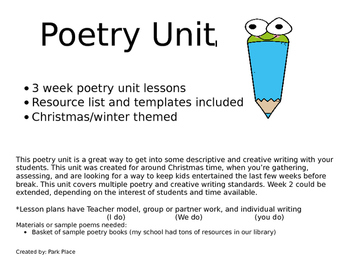Poetry Unit - 3 weeks, winter themed