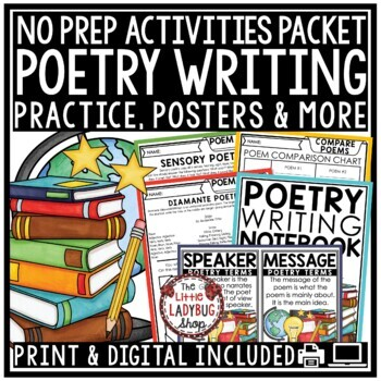Poetry Unit- Flip Book Poem Patterns, Posters, Poetry Writing Notebook & More