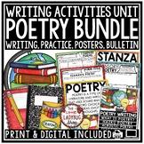 Digital Elements of Poetry Writing Unit Notebook, Poem Posters Activities Bundle