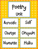 Poetry Unit - Acrostic, Self Poem, Change Poem,  Cinquain, Diamante, Haiku