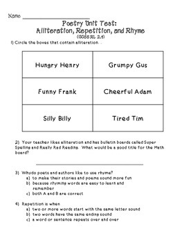 Poetry Unit: Alliteration, Repetition, and Rhyme (Common Core RL 2.4)