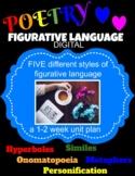 Poetry Unit Bundle: Hyperboles, Personification, Onomatopo
