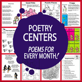 Poetry Center Activities–Monthly Poems & Rhyming Activities–4 Seasons Worksheets