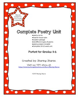 Poetry Unit - Complete 10-12 week unit