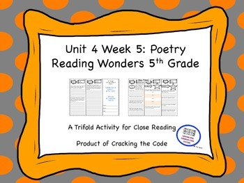 Poetry Unit Four Week Five Trifold Activity Reading Wonder