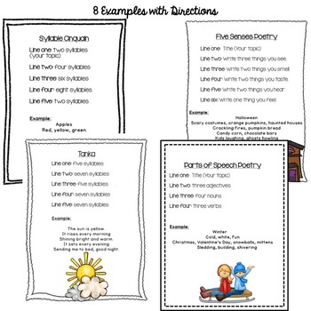 Poetry Unit - Templates and Poetry Task Cards