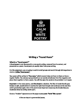 Poetry Unit Introduction and Found Poem Assignment