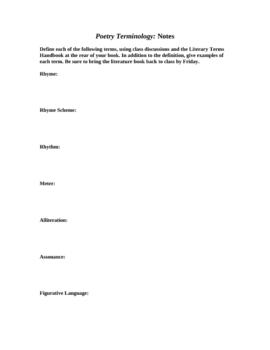 Poetry Unit: Poetic Terms Handout