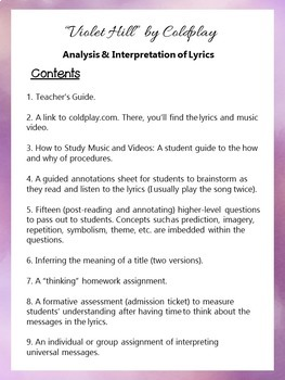 """Violet Hill"" by Coldplay, Song Lyrics Analysis & Interpretation - Poetry Lesson"